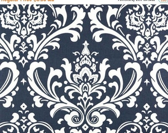 ON SALE - 15% Off Premier Prints Ozborne Navy Blue White Damask Twill Home Decorating Fabric BTY