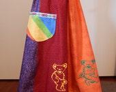 Grateful Dead Dancing Bears Rainbow Spinner Skirt Long and Full Skirt Hippie clothes, Patchwork skirt, OOak Skirt Plus size SKirt