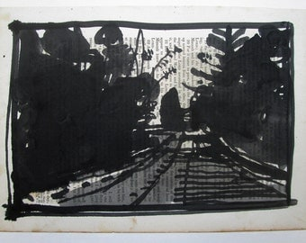 Original India Ink Landscape Drawing on Antique Paper, Stooshinoff