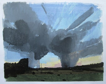Formation at Dusk, Original Summer Landscape Painting on Paper, Stooshinoff