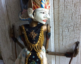 Folk Art Rod Puppet,Vintage Puppet,Wood Hand Painted Puppet,Indonesian Wayang Golek,Asian Folk Art,Ornate Costume,Semirefined Character