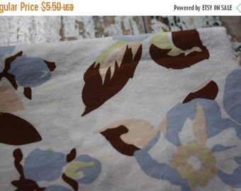 30% OFF SUPER SALE- Blue Floral Fabric--Reclaimed Bed Linen Fabric-Romantic Floral