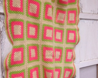 40% OFF FLASH SALE- Vintage  Afghan Blanket-Pink and Green