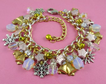 Pastel Snowflakes and Jingle Bell Christmas Charm Bracelet - golden bells, pink stars, vintage brass charms, silver snowflakes, pastel beads