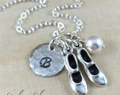 Tap Dance Shoe Charm Necklace, Personalized Jewelry, Tap Dance Gift, Personalized With Hand Stamped Initial And Birthstone, Tap Shoe Charm