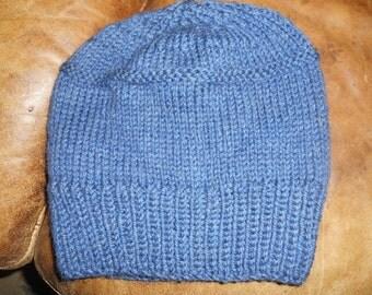 Hand knit knitted dark denim blue wool hat heavy weight unisex watch cap beanie men women teens