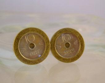 Ten Man - Vintage Norway 10 Ore Coin Bronze Cufflinks, Man Gift, Mens Gift, Wedding Gift, Groomsman Gift