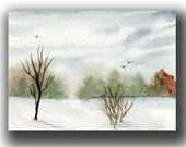 ACEO watercolor SNOW landscape original painting SFA miniature winter fields dollhouse mini