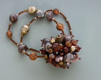 Fringe Necklace Bead Collector Series: W17. Glass beads, pearls, wood.