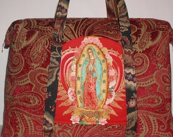 Catholic Carpet Bag Virgin Mary Tote Bag Heavy Duty Red Gold Taupe Blessed Mother Pockets Inside And Outside With Accessories Cosmetic Pouch