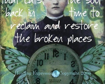 SEASONS OF TIME altered art therapy abuse trauma cancer recovery collage greeting card AtC ACeO Print