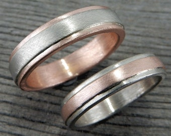 Handmade Wedding Band Set, Recycled 14k Gold - Yellow, White, Green, or Rose - 5mm and 4mm Wide, Matte, Ethical/Eco-Friendly, Made to Order