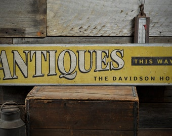 Antiques This Way Wood Sign, Custom Family Name Home Decor, Antique Lover Gift Arrow Sign - Rustic Hand Made Vintage Wooden Sign ENS1001388