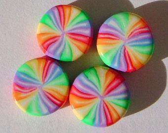 Candy Pinwheels Handmade Artisan Polymer Clay Beads