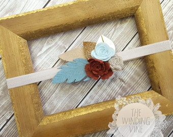 Rust Orange/Beige/Dusty Blue Felt Flowers and Feathers Headband/Clip/Barrette with Gold Leaves for Baby, Child, Teen, or Adult