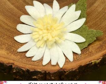 White/Yellow Felt Flower Gerbera Daisy Hair Clip/Barrette/Headband - Felt Hair Accessory for baby, toddler, child, teen, or adult