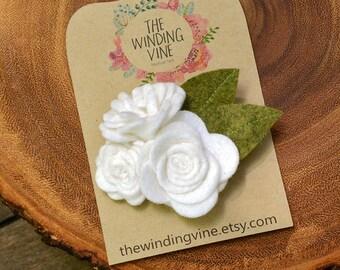 Flower Girl White Felt Flower with Silver Leaves Clip/Headband/Barrette - Custom Elastic