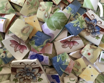 Mosaic Tiles Mix Broken Plate Art Hand Cut Pieces Supply Chintz Garden Mix Flowers  Vintage 100