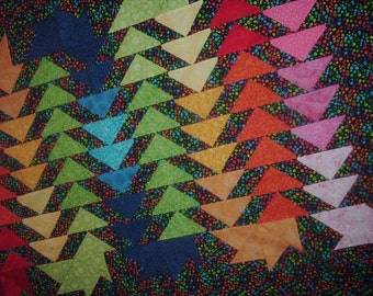 Quilt Top to Finish Rainbow Flying Geese 45 x 60 inches