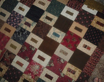 Quilt Top to Finish Scrappy Squares and Rectangles 59 x 59 inches