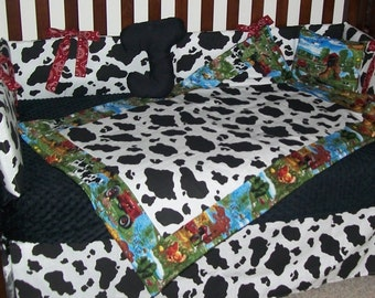 New 7 piece International Harvester IH tractor fabric w/ black & white COW print baby crib bedding set