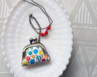 Hot Air Balloon vintage inspired tiny coin purse necklace- red bead accent - miniature