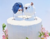Wedding cake topper love birds - navy blue and white with rose gold