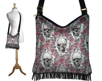 Cross Body Hobo Bag Purse,  Boho Bag, Crossbody Purse, Hippie Fringe Bag, Shoulder Bag, Skulls and Roses, Steampunk, pink blue black  RTS