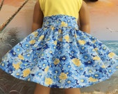 American Girl Doll Clothes Blue White and Yellow Floral Very Fully Gathered 50s Style Skirt with Waistband Medley NEW Style