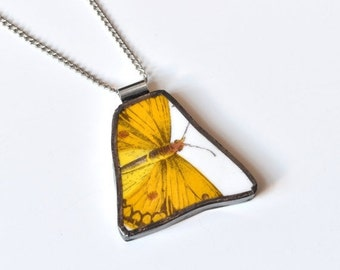 ETSYVERSARY SALE Broken China Jewelry Pendant - Portmeirion China - Yellow Butterfly