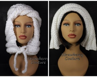 Hooded Scarf Knit Scoodie Scarf, Chunky Scarf Knit Scarf, Hoodie Scarf Knit Hood, Hooban White Scarf