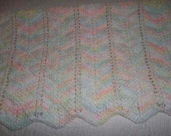 Baby Blanket, Preemie Blanket, Hand Knitted Car Seat Blanket
