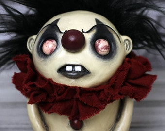 Grumpy Birthday Clown  - Red Bruno Mini - Creepy Doll Art