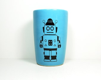 18oz tumbler with a Robot print shown here on Cloudless blue, made to order / pick your colour