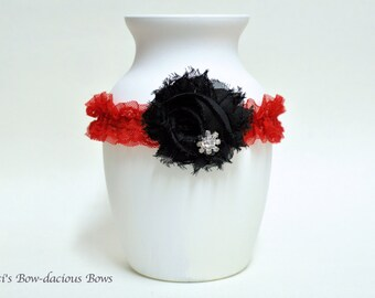 Midnight Delight - Ready to Ship - Black and Red Flower Headband