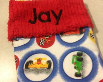Race Cars and Chekcered Flags with Chenille Handmade Christmas Stocking with FREE US SHIPPING