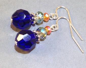 Blue And Orange Czech Glass Earrings - AB Czech Crystal - Silver Earrings - Small Earrings - Boho Jewelry - Child Earrings - Gift For Her