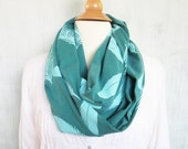 Infinity Scarf with Feathers - Organic Cotton - Spruce Green