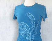 Womens Graphic Tee - Organic Cotton Jersey T Shirt - Womens Tee Shirt - Blue Tee Shirt - Ladies Screen Printed TShirt- Lily of the Valley