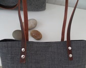 Grey Linen Tote Leather Handles