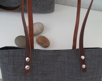 Grey Linen Tote Leather Handles Laptop Tote