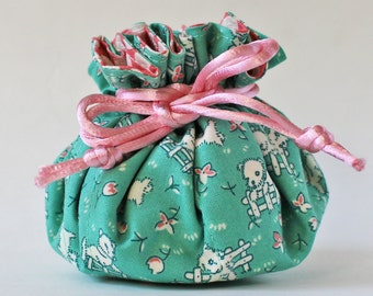 travel jewelry case jewelry roll jewelry pouch puppy on mint green pink bow spring animal dog mint jewellery case white dog drawstring bag