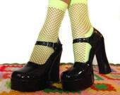 Yellow Fishnet ankle socks