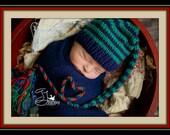Newborn Knit Baby Hat CHRiSTMaS BaBY PHoTO PRoP Boy Girl SToCKiNG CaP Long Tail TaRTaN FaT TaSSeL BeANiE Unisex Navy Green Red Plaid GiFT