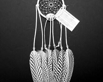 White Dream Catcher, Silver Pheasant Feathers