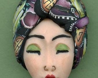 Polymer Clay OOAK   Detailed Asian  Art Doll Face with hat Cab  ASNH 2