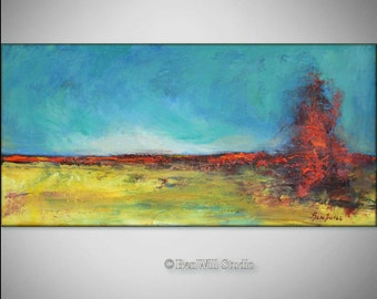 Abstract Oil Painting Landscape --- GOLDEN FIELDS Textured 24x12 ORIGINAL Contemporary Fine Art by BenWill