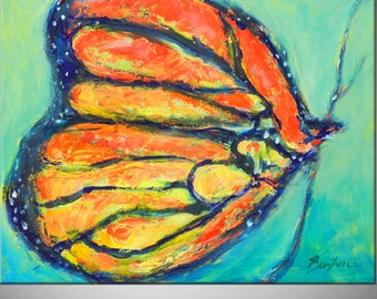 Whimsical ART Original Oil Painting on Canvas Colorful Monarch Butterfly Art 20x16 by BenWill
