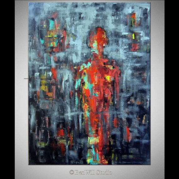 ABSTRACT Large Black Red Painting Contemporary Decor Art  - ORIGINAL Modern Artwork 48x36 by BenWill