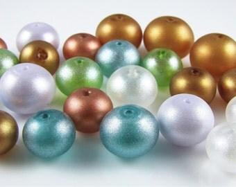 BARGAIN SALE BEADS Shimmer Lampwork Hollow Glass (25)